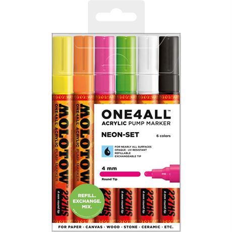 Molotow ONE4ALL 227HS Paint Pen Neon Set - 6 x 4mm Round Nib Pens Image 1