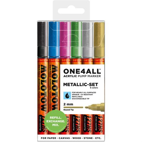 Molotow ONE4ALL 127HS Paint Pen Metallic Set - 6 x 2mm Round Nib Pens Image 1