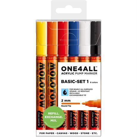 Molotow ONE4ALL 127HS Paint Pen Basic Set 2 - 6 x 2mm Round Nib Pens Image 1