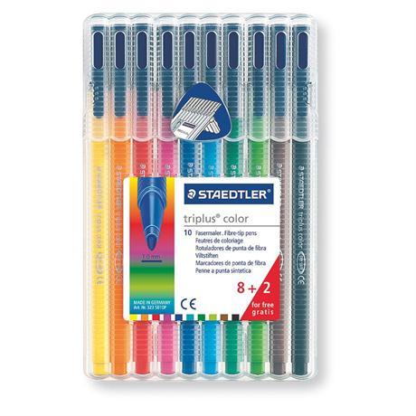 Staedtler Triplus Colour Pens - Desktop Box Of 10 Colours