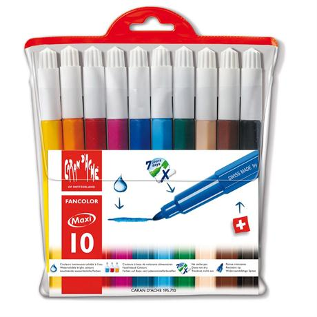 Caran D'ache Fancolor Wallet of 10 Watersoluble Maxi Fibre Tipped Pens Image 1
