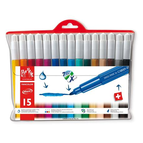 Caran D'ache Fancolor Wallet of 15 Watersoluble Maxi Fibre Tipped Pens Image 1