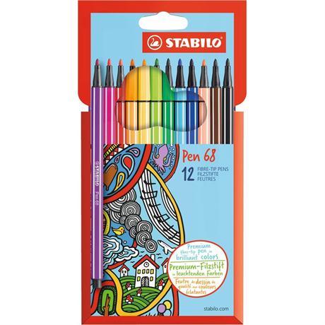 Stabilo Pen 68 Card Wallet of 12 Image 1