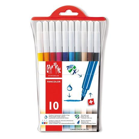 Caran D'ache Fancolor Wallet of 10 Watersoluble Fibre Tipped Pens Image 1