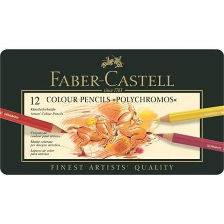 Faber Castell Polychromos Pencils Tin of 12 Image 1
