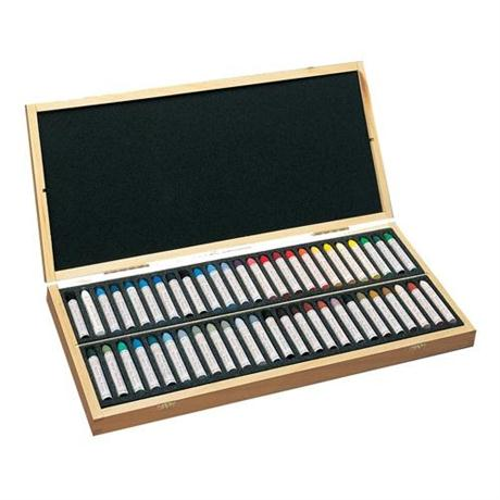 Sennelier Oil Pastels Wooden Box of 50 Assorted Colours Image 1