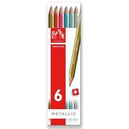 Caran d'Ache Fancolor Box of 6 Water Soluble Metallic Colour Pencils thumbnail