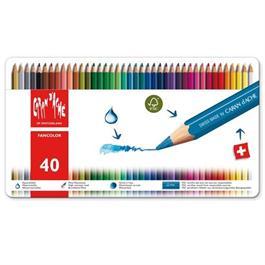 Caran d'Ache Fancolor Tin of 40 Water Soluble Colour Pencils thumbnail