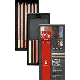 Caran d'Ache Retouche Set - 6 Pastel Pencils & 6 Pastel Cubes thumbnail