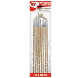 Pebeo Set of 8 White Bristle Brushes thumbnail