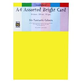 A4 Assorted Bright Colours Card Pack 175gsm thumbnail