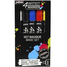 Pebeo 4ARTIST MARKER Set Of 5 Assorted Basic 4mm Pens thumbnail