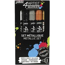 Pebeo 4ARTIST MARKER Set Of 5 Assorted Metallic 4mm Pens thumbnail