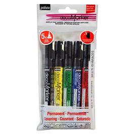 Pebeo decoMarker Set of 5 Basic Matt Colours 1.2mm thumbnail