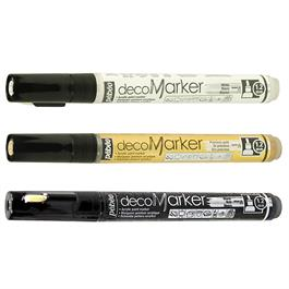 Pebeo decoMarker Set Black, White & Gold 1.2mm Thumbnail Image 1