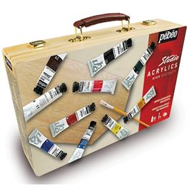 Pebeo Studio Acrylic Paint Starter Kit Wooden Box thumbnail