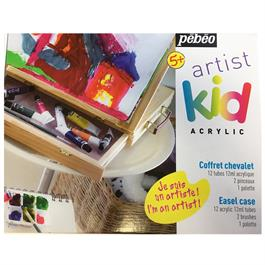 Pebeo Kids Easel Case With 12 x 12ml Acrylic Paints Thumbnail Image 1