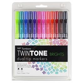 Tombow TwinTone Marker Set Of 12 Bright Colours thumbnail