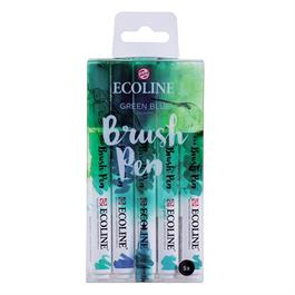 Ecoline Brush Pen Set Of 5 Green Blue Colours thumbnail