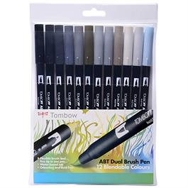 Tombow Dual Brush Pen Set of 12 - Grey Shades thumbnail
