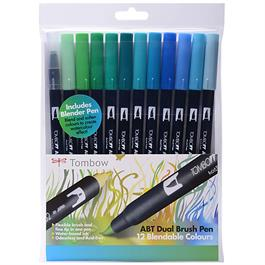 Tombow Dual Brush Pen Set Of 12 Ocean Colours Thumbnail Image 0