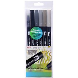 Tombow Dual Brush Pen Set Of 6 Grey Shades thumbnail