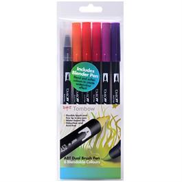 Tombow Dual Brush Pen Set Of 6 Sunset Colours thumbnail