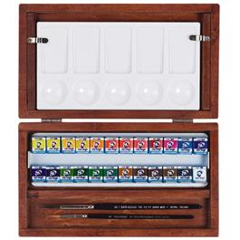 National Gallery Watercolour Wooden Box Set With 24 Half Pans Thumbnail Image 0