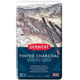 Derwent Tinted Charcoal Tin of 12 Thumbnail Image 0