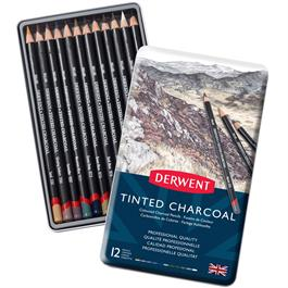 Derwent Tinted Charcoal Tin of 12 Thumbnail Image 1