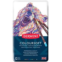 Derwent Coloursoft Pencils Tin of 12 Thumbnail Image 1