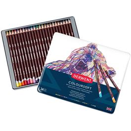 Derwent Coloursoft Pencils Tin of 24 Thumbnail Image 1