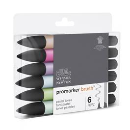 Winsor & Newton ProMarker Brush Set Of 6 Pastel Tones Thumbnail Image 2