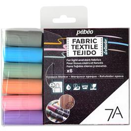 Pebeo 7A Fabric Marker Opaque Set Of 6 Pastel Colours thumbnail