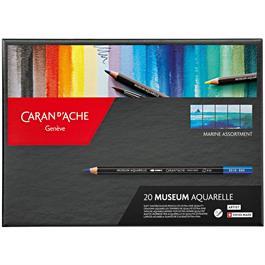 Caran d'Ache Museum Aquarelle Pencils - 20 Marine Assortment Set thumbnail