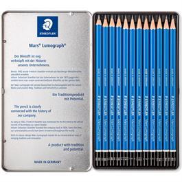 Staedtler Mars Lumograph Pencil - Tin of 12 medium degrees Thumbnail Image 1