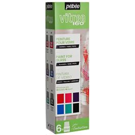 Pebeo Vitrea 160 Glossy Initiation Set 6 x 20ml No.2 Colours Thumbnail Image 0