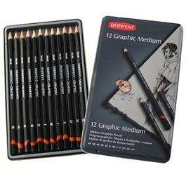 Derwent Graphic Pencils Medium (Designer) Tin of 12 thumbnail