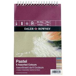 """Daler Rowney Ingres Spiral 6 Assorted Colours 12x9"""" thumbnail"""