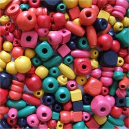 Wooden Craft Beads, 6 to 15mm, Assorted.(Approx 650) thumbnail