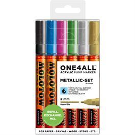 Molotow ONE4ALL 127HS Paint Pen Metallic Set - 6 x 2mm Round Nib Pens thumbnail