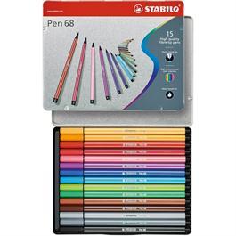 STABILO Pen 68 - Tin of 15 Fibre Tip Pens