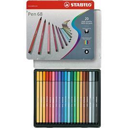 STABILO Pen 68 - Tin of 20 Fibre Tip Pens
