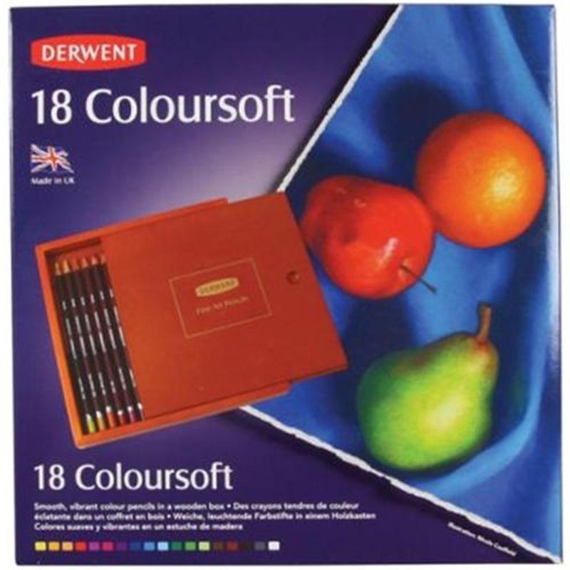 Derwent Coloursoft Pencils Wooden Box Of 18