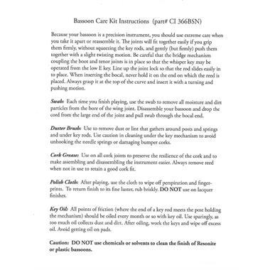 Conn bassoon care kit thumbnail