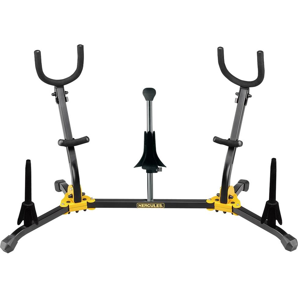 Hercules DS538B duo saxophone stand (with sop sax, flute and clarinet pegs)