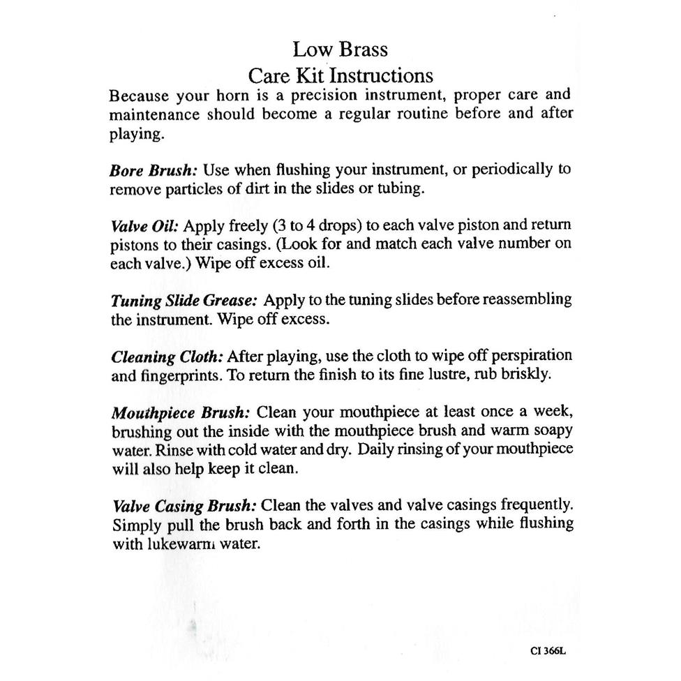 Conn low brass care kit