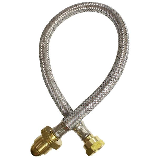 3500mm Armoured (Galvanised Finish) Pigtail Hose W20 x Standard POL Image 1