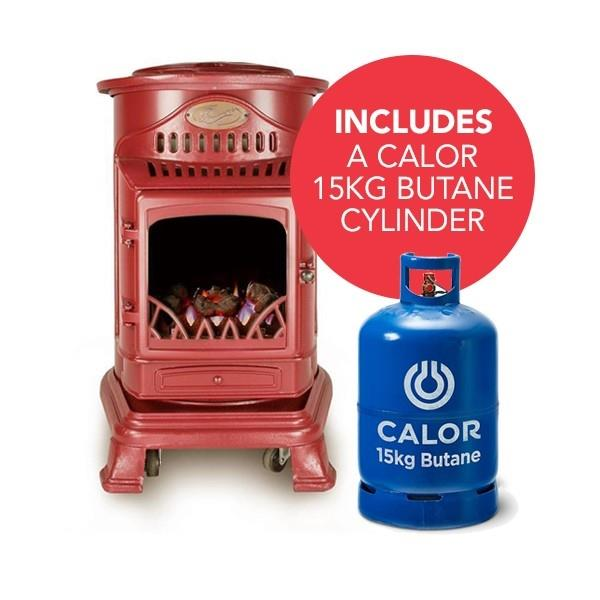 Provence Portable Real Flame Effect Red Gas Heater & Calor 15kg Butane Cylinder Image 1