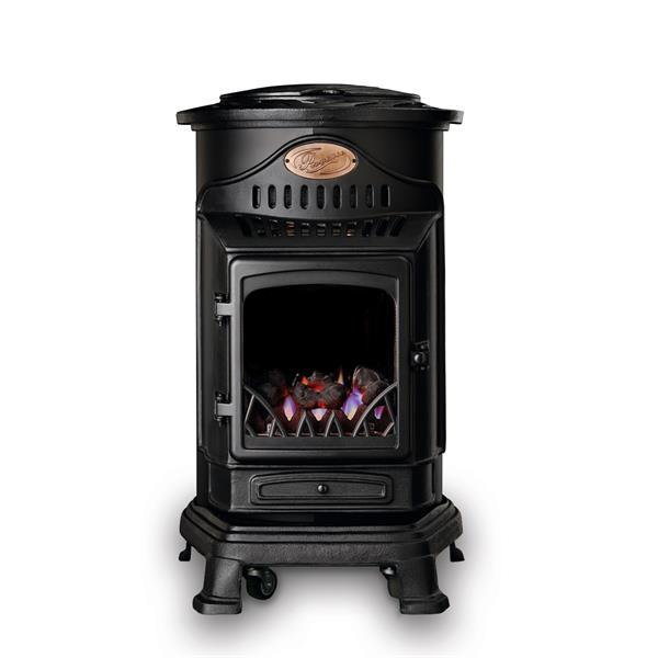 Provence Real Flame Effect 3.4kW Matt Black Gas Heater Image 1
